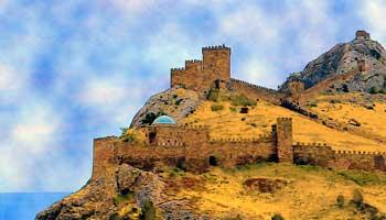 Вид на судакскую крепость.